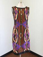 Tahari ASL Levine Women's Abstract Print Sleeveless Dress Career 8 Brown Purple