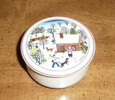 "VILLEROY & BOCH *NAIF CHRISTMAS* COVERED 3"" TRINKET BOX by GERARD LAPLAU"