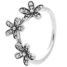 TRIPLE DAISY Ring 925 Solid Sterling Silver DAZZLING CZ Size 8 / 56