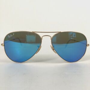 Preowned Ray Ban Polarized Blue Mirrored Aviator Metal Sunglasses RB3025 58 BG02
