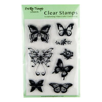 Clear Stamp Butterflies Flowers Set Rose Card Making Scrapbooking 8 Stamps