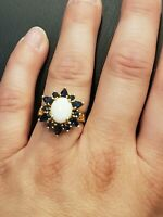 Vintage 3CT Opal and Sapphire 14k Yellow Gold Over Halo Cluster Wedding Ring