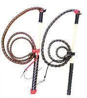 Genuine Leather Stock Whip Kids Yard whip Stockwhip 2ft Black