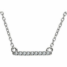 Petite Diamante Barra 40,6 -45 , 7cm Collar en 14k ORO BLANCO
