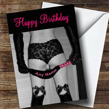 Sexy Lady Bondage Whip Funny Personalised Birthday Greetings Card