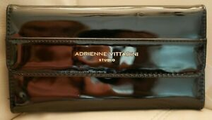 NEW WT WOMEN'S ADRIENNE VITTADINI  FOLD OUT WALLET BLACK PATENT LEATHER  RFID