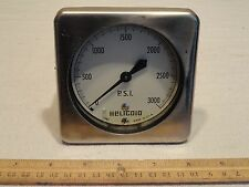 """HELICOID 2487 PRESSURE GAUGE 0-3000 PSI 3-1/2"""" CHROME made in USA"""