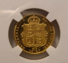 More details for 1887 rare half sovereign proof gold - slabbed pf61 cameo - only 797 mintage