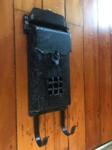 Vintage Mid Century Aluminum Wall Mount Mailbox w/Paper Hooks, Free S/H