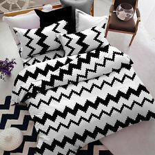 Sookie Brief Style 3pcs Full Size Bedding Sets Duvet Cover Set Black&White Waves