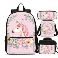 Pink Unicorn with Flower School Backpack Kids Girls Book Bag 4pcs Bag Set Lot