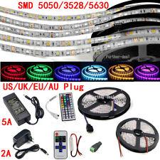 5M 300 Tira de Luz LED SMD 3528 5050 5630 RGB/Blanco Flexible + Control Remoto + Fuente De Alimentación