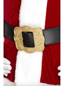 Black Santa Belt Large Ornate Buckle Adults Chrostmas Fancy Dress