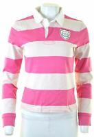 RALPH LAUREN Womens Rugby Polo Shirt Long Sleeve Size 12 Medium Pink Striped