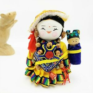 Thai Tribe Doll with Baby 11cm Tall, Wood Ethnic Traditional Costume  VGC