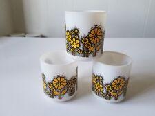 3 Vintage Hazel Atlas Milk Glass Yellow Daisy Flower Power Coffee Mugs Cups HTF