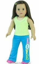 Love Yoga Pants+Rhinestone Top 18 in Doll Clothes Fits American Girl