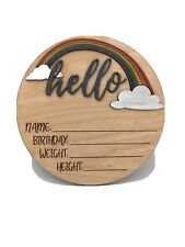 8� Rainbow Baby Stats Birth Announcement Sign For New Baby Newborn Shower Gift