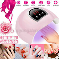 54W Pro Nail Polish Dryer Lamp LED UV Gel Acrylic Curing Light Manicure Timer.