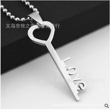 HOT love key Womens Men's Silver 316L Stainless Steel Titanium Pendant Necklace
