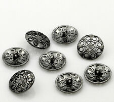 10  Metal Buttons Carved Gunmetal Flower Design 18mm Free UK Postage