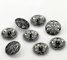 10  Metal Buttons Carved Gunmetal Flower Design 18mm Free UK Postage