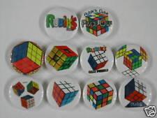Set of 10 pins1.25 inch size Rubiks Cube Classic Magic Rubik Rubic Rubix Pinback