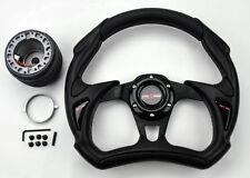 Mazda Miata 30cm JDM Battle All Black Steering Wheel w/ Boss Kit Hub Adapter