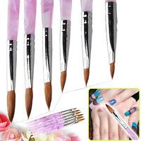 New 6 x Marble Sable Nail Art Acrylic Pen Brush Pink sizes 2 4 6 8 10 12