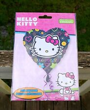 "Hello Kitty Foil Heart Balloon Sanrio 17"" Black Pink Bow Star Flower Valentine"