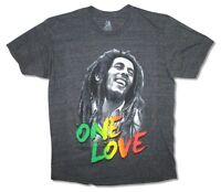 Bob Marley One Love Heather Black T Shirt New Official Adult