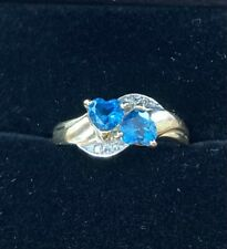 London Blue Topaz Heart Shaped And Diamond Engagement Ring 9ct Gold