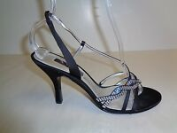 Nina Size 9 M Black Satin Crystals Strappy Heels Sandals New Womens Shoes