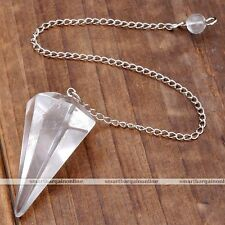 Clear Crystal Gemstone Pendulum Pyramid Healing Point Chakra Dowsing Pendant
