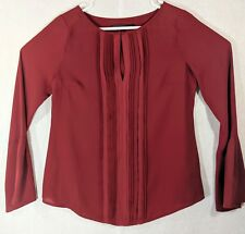 White House Black Market Ruffled Front Keyhole Bell Sleeve Red Blouse Tag Size 4