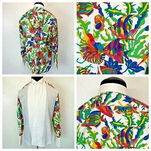 Neiman Marcus Tuxedo Shirt 15.5 34 Poplin Tropical Fish Graphic Shells Beach S1