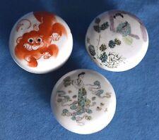 Antique Chinese Orange Lion Dog Export Famille Verte Canton Paste Water Jar Lot