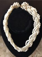 Vintage Braided Necklace Multi-Strand White Seed Gold Ball Bead Choker