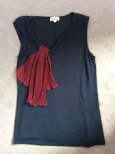 STUNNING NAVY BLUE TOP WITH BURGUNDY KNOT DOWN ONE SIDE - S
