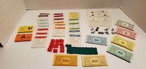 Vintage 1961 Monopoly Board Game Replacement Parts & Pieces - Authentic