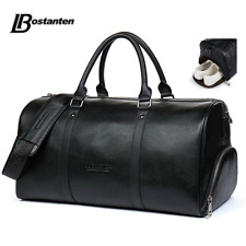 Mens Genuine Leather Outdoor Sports Gym Bags Holdall Duffel Weekender Overnight