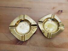 2 Vintage Brass Ashtrays  - Smoking Smokers Paraphernalia