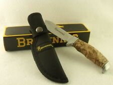 BR526 Couteau Browning Burlwood Finger Groove Skinner Acier Inox Manche Bois
