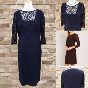 Jaeger Ponte Dress UK 14 Navy Blue Flocked Lace Smart Work Cocktail Party Cruise