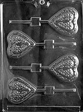 Swiss Heart lollipop  Chocolate & Soap Mold - V030    4 per mold