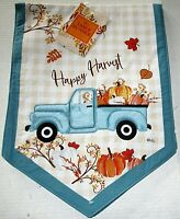 "FALL TABLE RUNNER 13"" X 36"" VINTAGE BLUE TRUCK W/ PUMPKINS /HAPPY HARVEST"