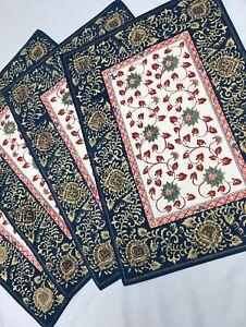 Vintage Japanese Cotton Indigo Placemat Set Of 4  Beautiful Blue, Gold, & Red