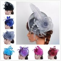 Fashion Women Fascinator Mesh Hat Ribbons And Feathers Dance Wedding Party Hat
