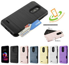 For LG Q7 & Q7+ Hybrid Rubber Rugged Hard Card Slot Wallet Case Protective Cover