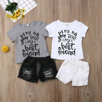 US Infant Baby Boy Girl Twins Letters Print T-shirt Shorts Matching Outfits Set